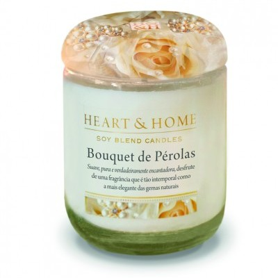 Vela Frasco Grande Bouquet de Pérolas Heart & Home