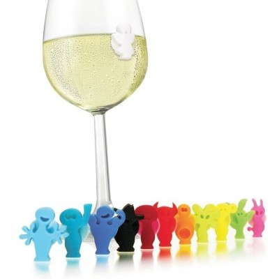 Set 12 Marcadores de copos silicone Party People Vacu Vin