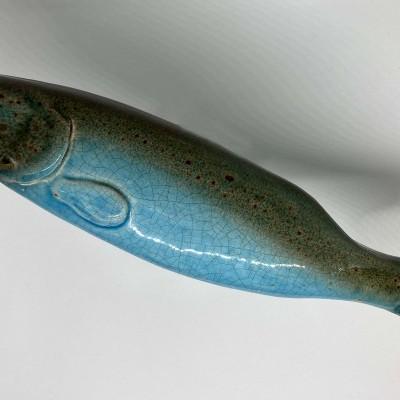 Peixe cerâmica azul 30cm