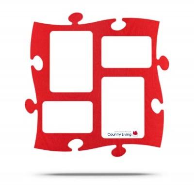 Country Living Moldura Puzzle+ 4fotos  (2x 10x15cm; 2x 13x18cm) vermelha