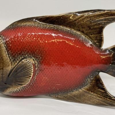 Peixe cerâmica vermelho 28cm