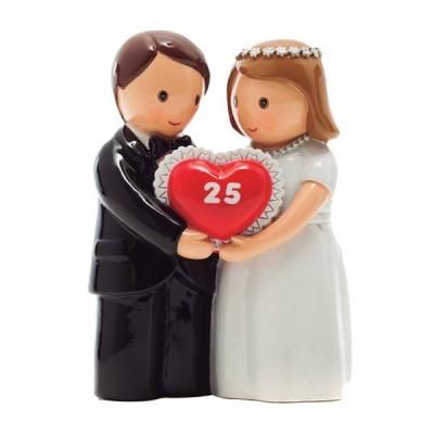 """Casal de Noivos com coração vermelho """"25"""" Little Drops of Water"""