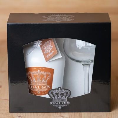 Real Gin MOSCATEL com Copo em caixa de cartão ou caixa de madeira
