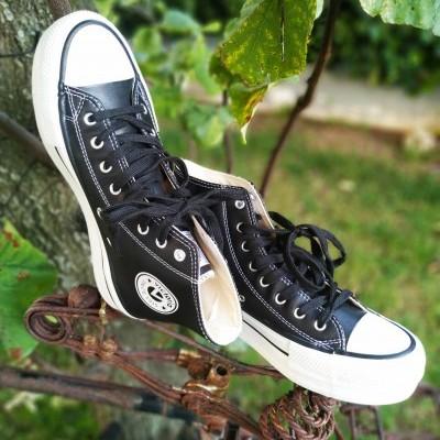 Ténis bota em pele com plataforma