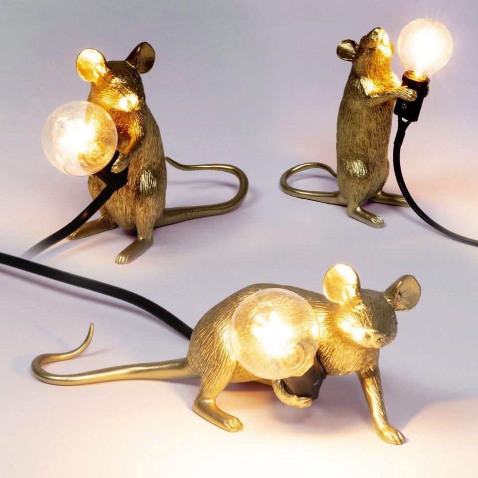 Mouse Lamp Gold - Marcantonio Raimondi Malerba, Seletti