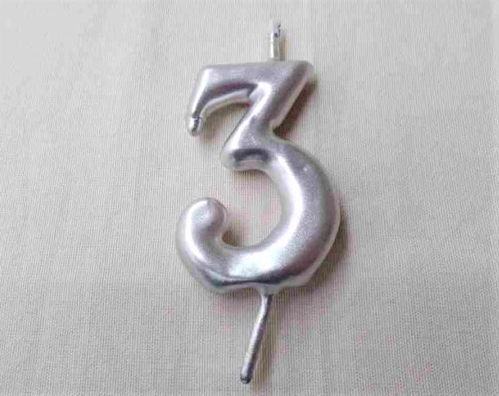 Vela 6 cm Número 3 - Mas roses