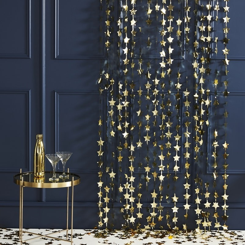 Estrelas Douradas em Cortina 1.2mt x 2 mt
