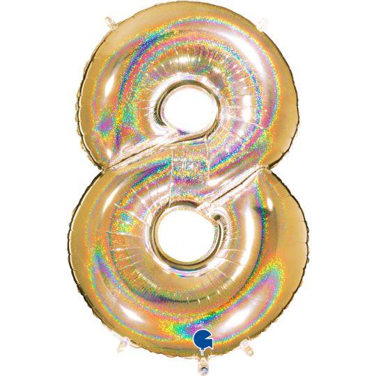 """Balão foil 40"""" número 8 - grabo"""