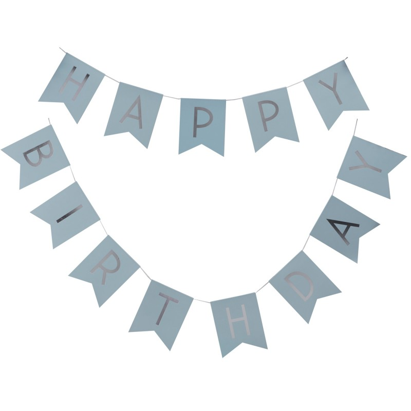 Bandeirolas Happy Birthday azul pastel - Ginger Ray