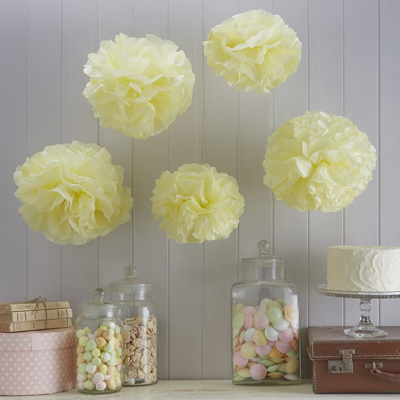 5 Pompons Amarelo Pastel - Ginger Ray