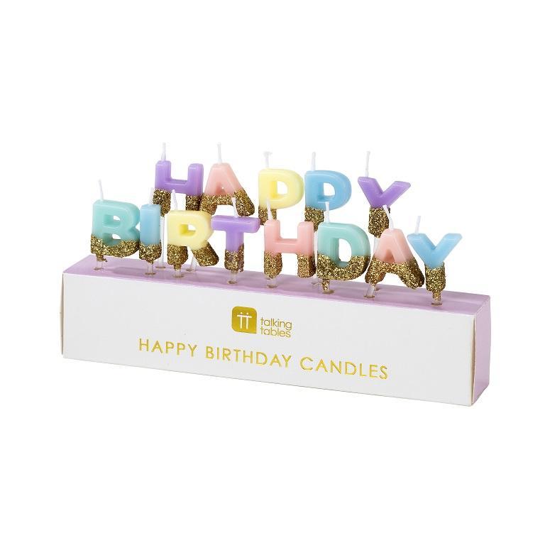 Velas Happy Birthday Tons Pastel - Talking Tables