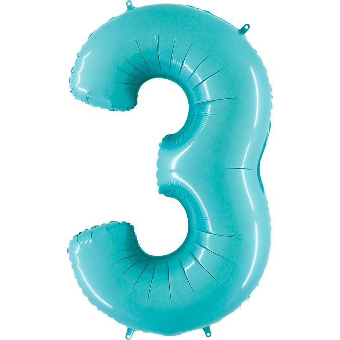 """Balão foil 40"""" número 3 pastel pink - grabo"""