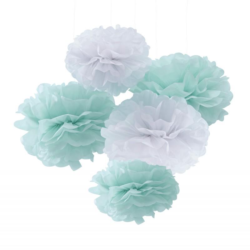 5 Pompons Verde Menta e Branco - Ginger Ray