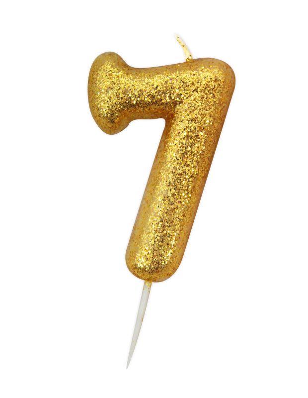Vela Glitter 6 cm Número 7 - Candle Cake