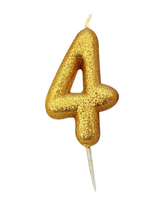 Vela Glitter 6 cm Número 4 - Candle Cake
