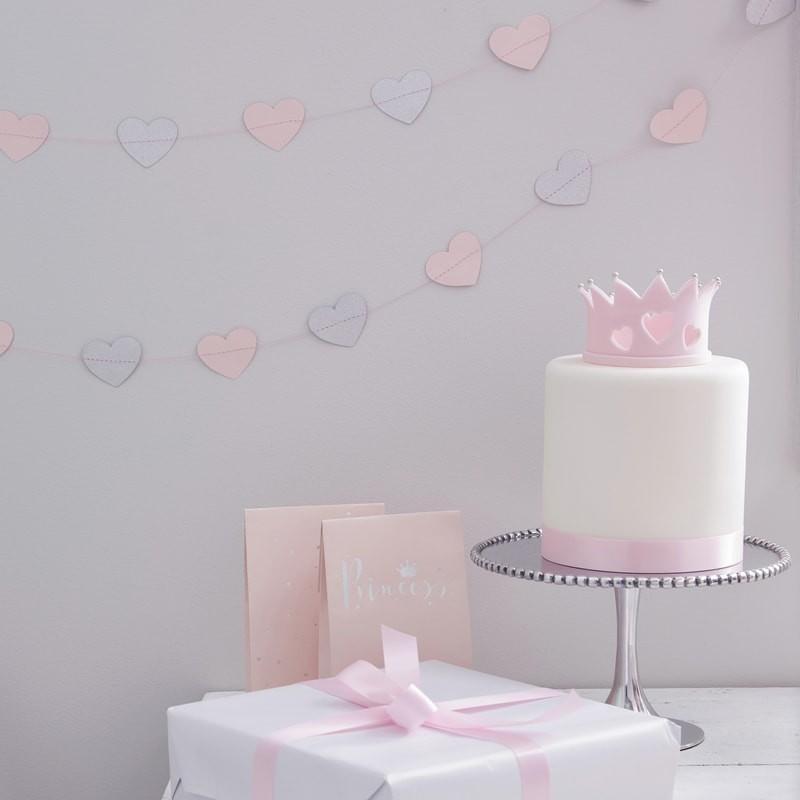 Corações em Grinalda rosa pastel e prata glitter - Ginger Ray