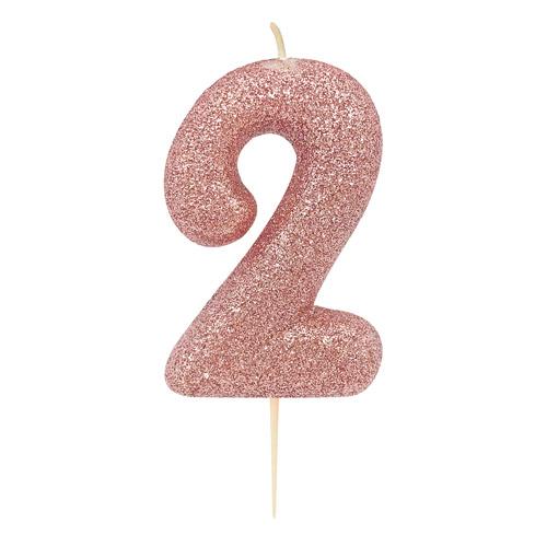 Vela Glitter 6 cm Número 2 - Candle Cake