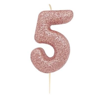 Vela Glitter 6 cm Número 5 - Candle Cake