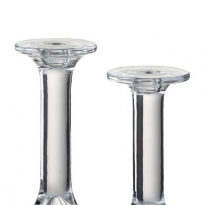 Castiçal Vidro Liso Transparente