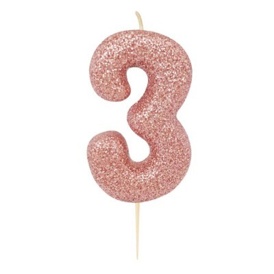 Vela Glitter 6 cm Número 3 - Candle Cake