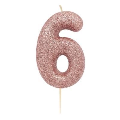 Vela Glitter 6 cm Número 6 - Candle Cake
