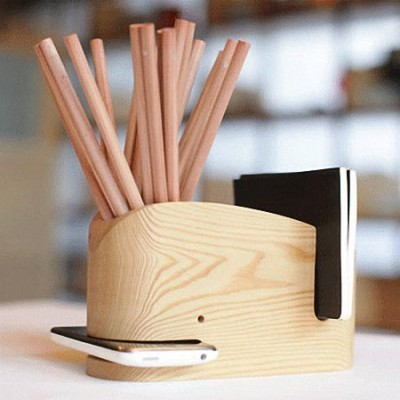Wood Whale Desk Organizer