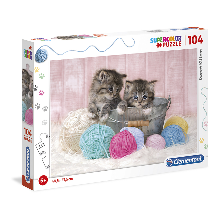 Puzzle Super 104 Pçs Gatos