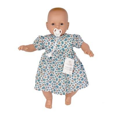 Bebé com choro 63cm careca vestido azul