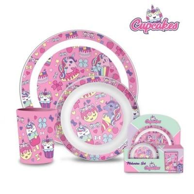 Conj. 3 Peças Melamina Cupcake