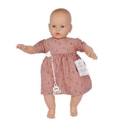 Bebé com choro 63cm careca vestido bordeaux