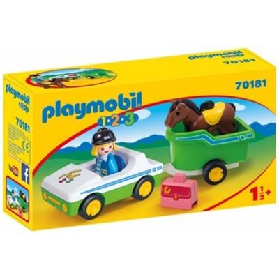 Playmobil 1.2.3 Carro com Reboque para Cavalo
