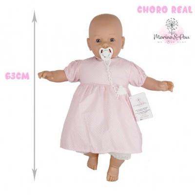 Bebé com choro 63cm careca