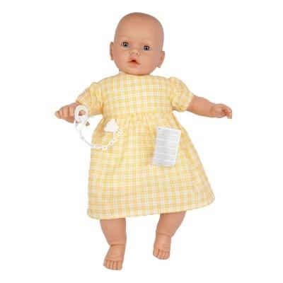 Bebé com choro 63cm careca vestido amarelo