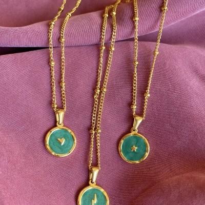 Fio bolinhas c/medalha verde