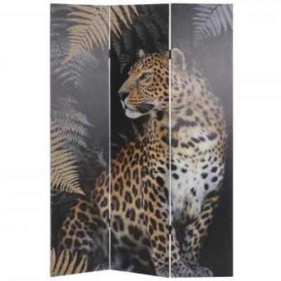 Biombo Leopardo Tigre Selva Madeira Tela Impressa  180 X 180