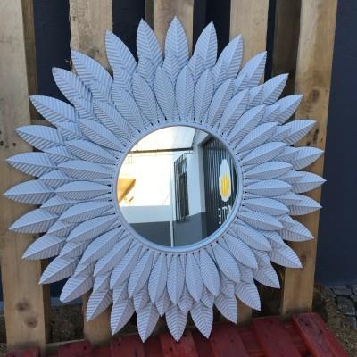 Espelho Sol Metal Branco Envelhecido