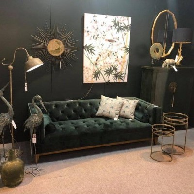 Sofá 4 Lug. Capitonê Vintage Deco Veludo Verde By OVO Home Design
