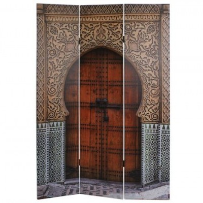 Biombo Porta Templo Étnico Madeira Tela Impressa  180 X 180