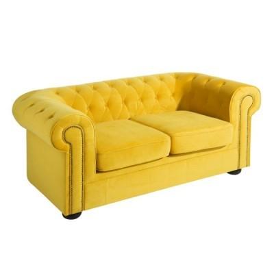 Sofá Chesterfield Veludo Amarelo  By OVO Home Design