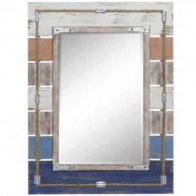 Espelho Rectangular Azul Vintage Praia Corda