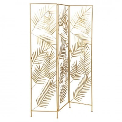 Biombo  Metal Folhas  Douradas 100 X 180