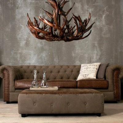 Sofá Chesterfield  3 Lug. Capitonê Vintage Castanho e Eco Pele By OVO Home Design