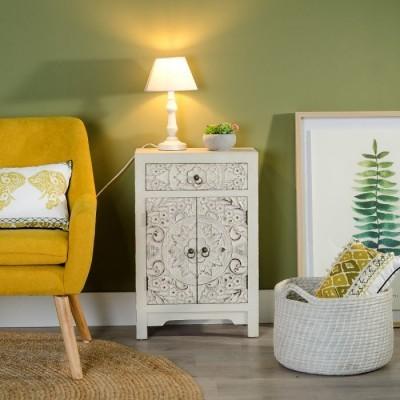 Mesa Cabeceira Frente Mandala Talha Branco Decapé By OVO Home Design