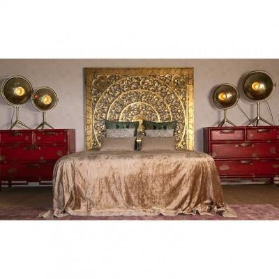 Cabeceira Cama Mandala Talha Dourado Envelhecido 160 X 160