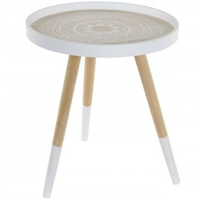 Mesa apoio redonda Mandala branca