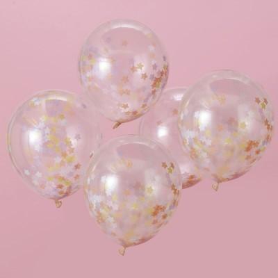 Balão Confettis Estrelas Pastel