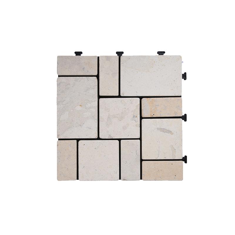 Pavimento de pedra travertino bege x4 peças