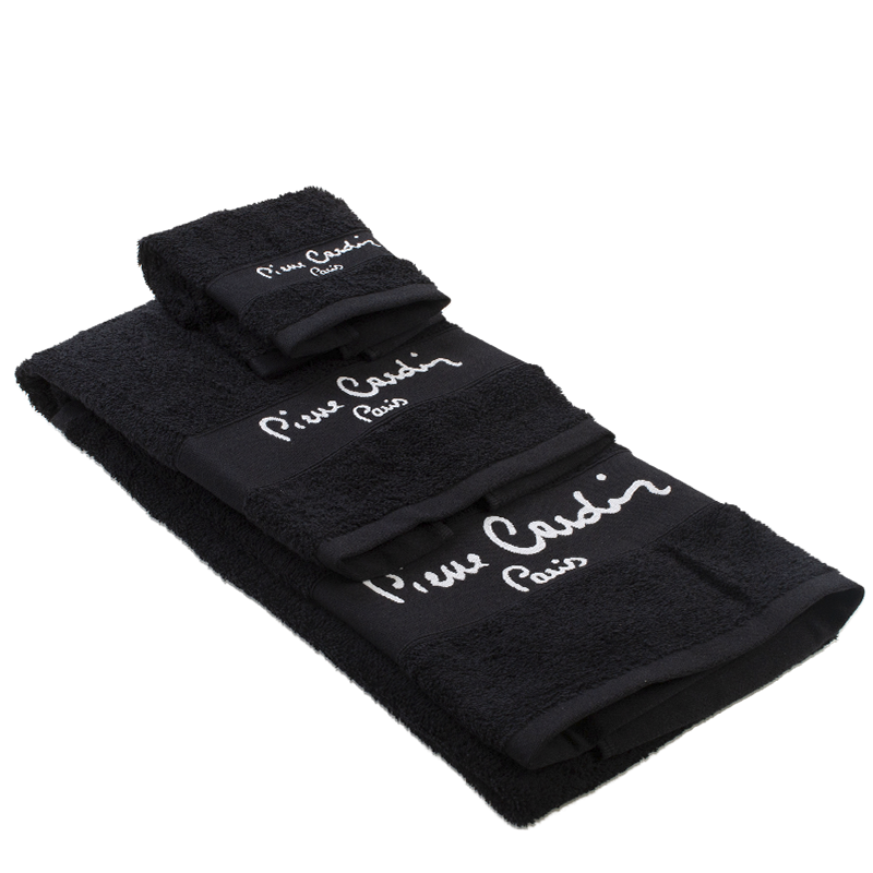 Conjunto de 3 toalhas Pierre Cardin cor Preto