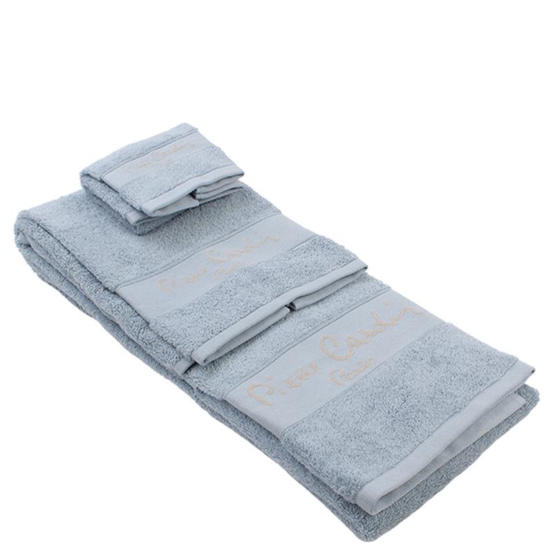 Conjunto de 3 toalhas Pierre Cardin cor: celeste/linho
