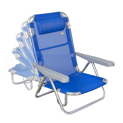 Cadeira dobrável 5 posições Aktive Azul com encosto